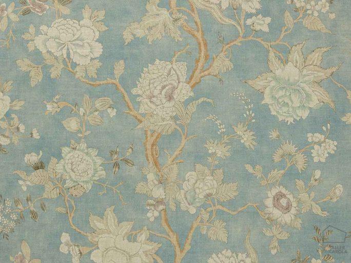 Tela PAL Flores Lino Azul