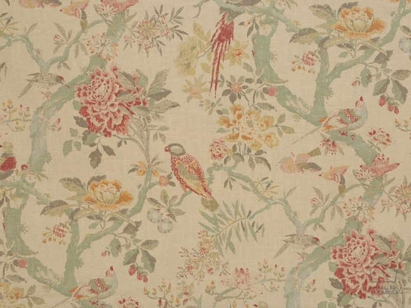 056sag03 Tela Flores Pájaros Vintage Verde