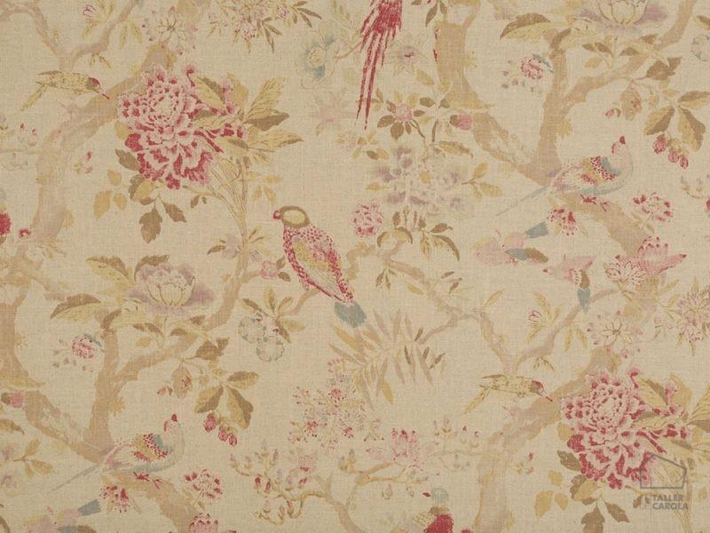056sar01 Tela Flores Pájaros Vintage Rojo