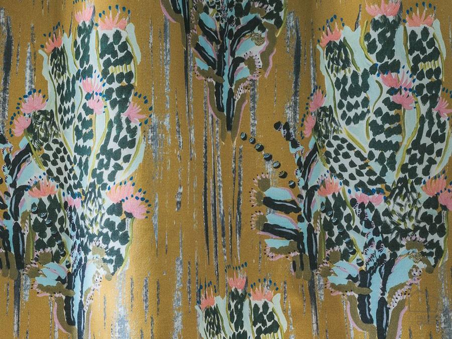 057pit3890_03_84 Tela Cactus Algodón Mostaza