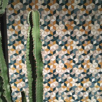 057res Tela geométrica mosaico turquesa