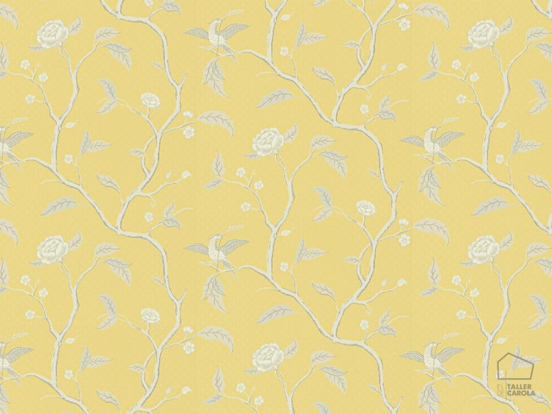 059401_32bru Papel Pintado Pájaros Amarillo