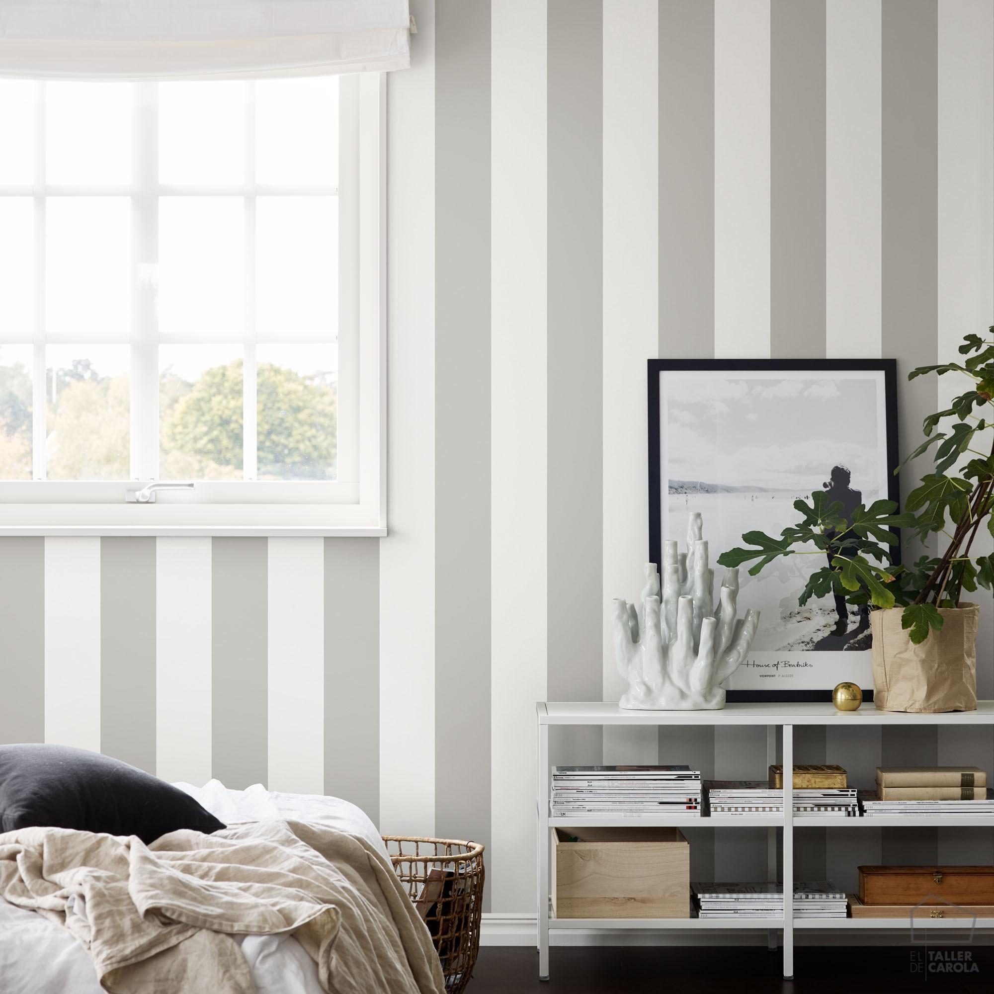 Papel pintado rayas gris oscuro el taller de carola - Papel pared rayas verticales ...