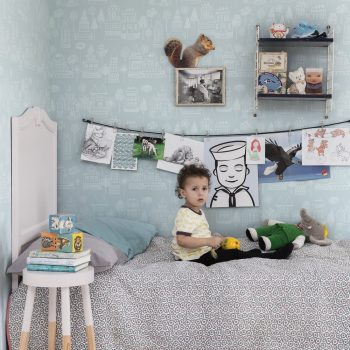 059522_07_kas_fam Papel Pintado Infantil Casas Turquesa