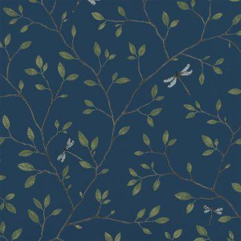 059558_96lin Papel Pintado Libélula Vegetal Azul
