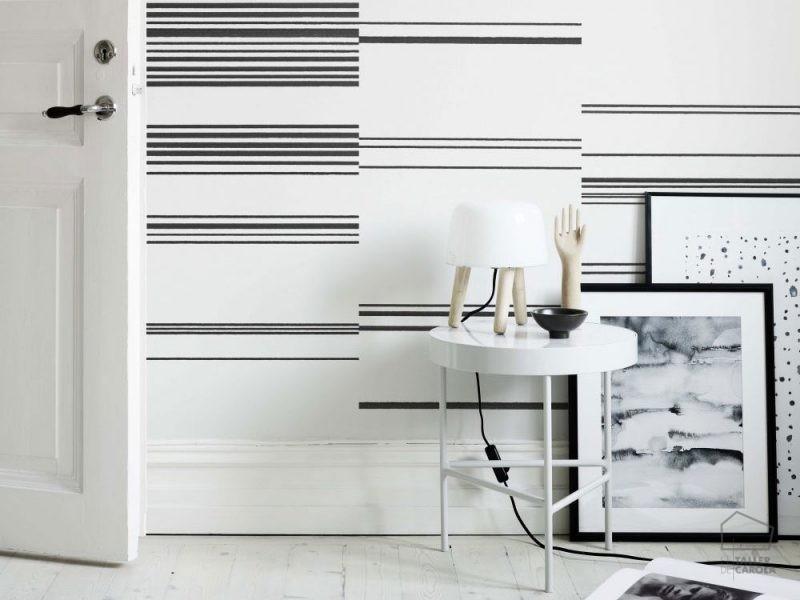 papel pintado rayas horizontal negro - Papel Pintado Rayas Horizontales