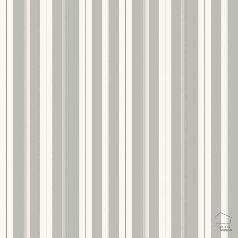 Papel pintado rayas gris ocre el taller de carola - Papel pintado de rayas verticales ...