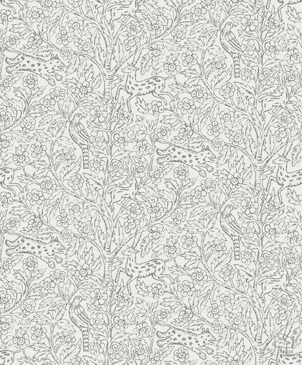Papel Pintado Florecitas y Animales Blanco