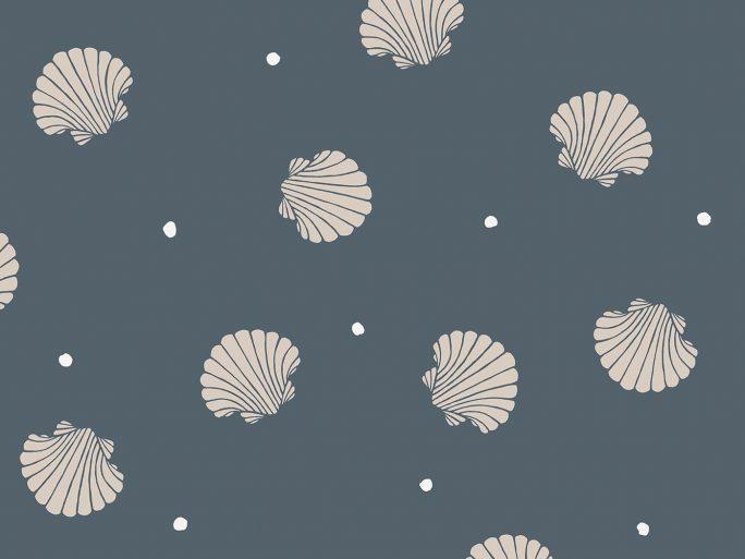Papel Pintado Conchas Marinas Azul