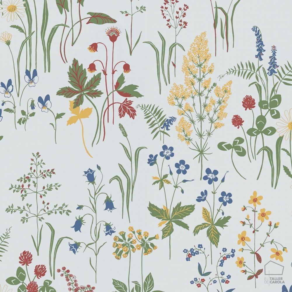 Papel pintado vegetaci n n rdico colores sobre fondo blanco - Papel pintado colores ...