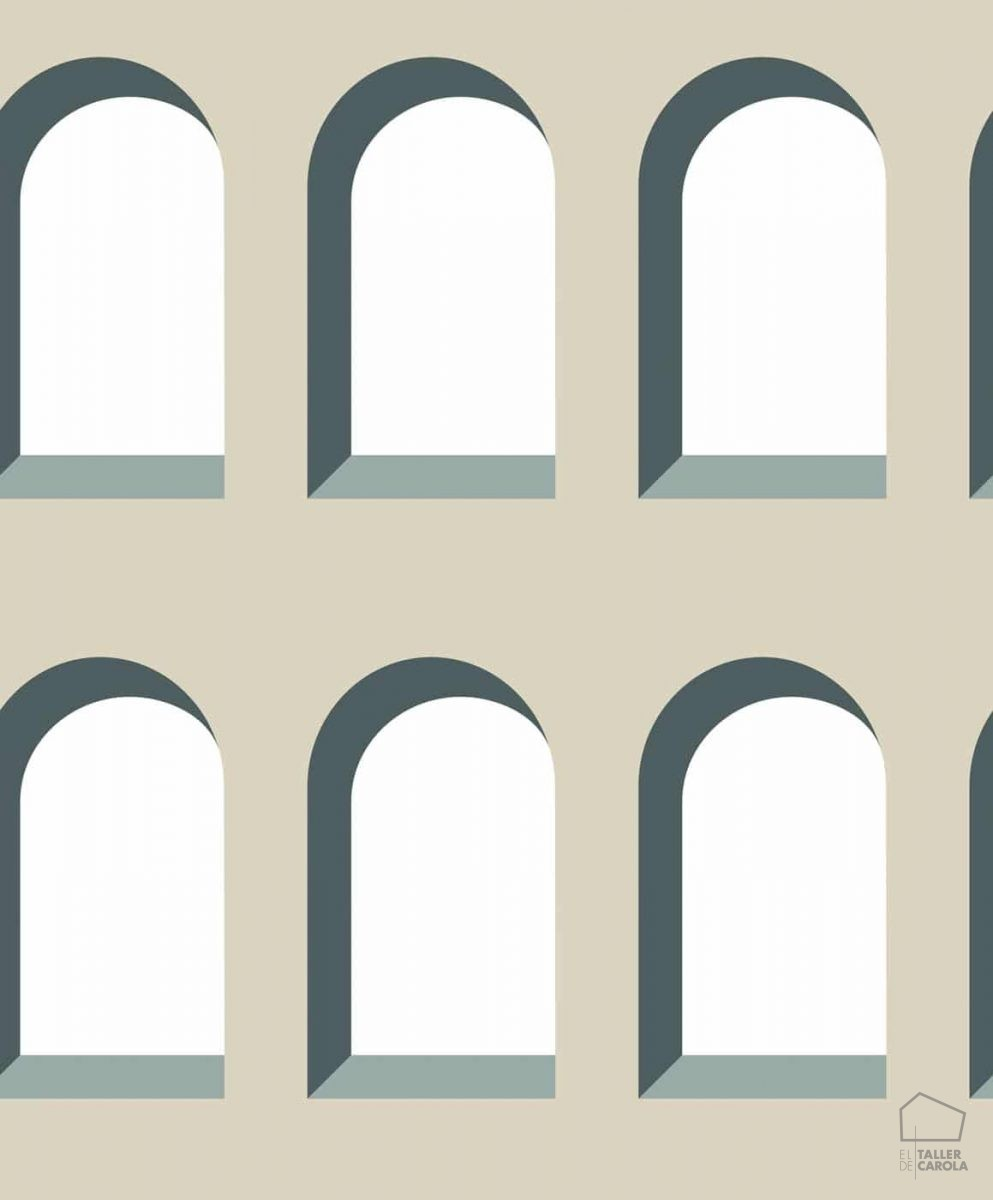 Papel Pintado Geométrico Arcos Beige