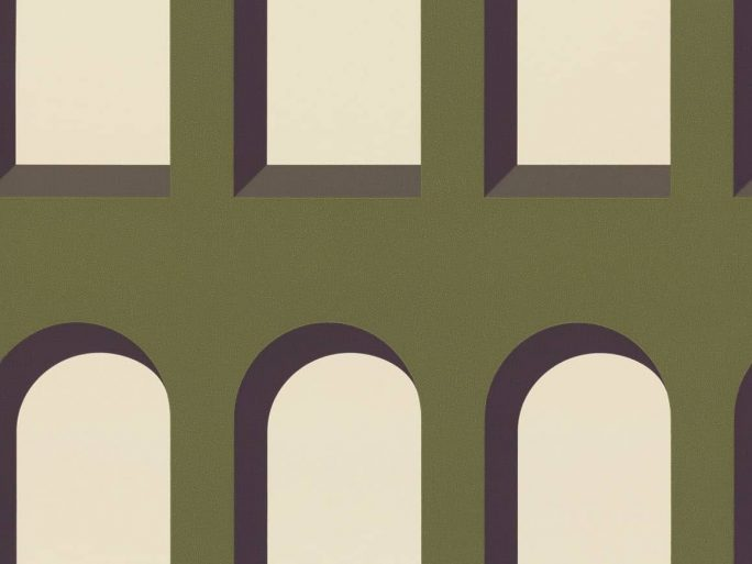 Papel pintado geométrico Arcos verde