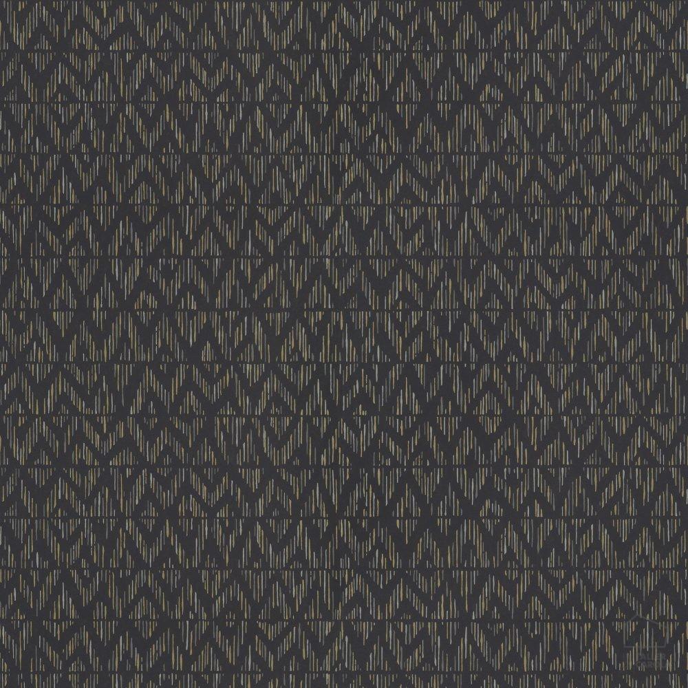 Papel pintado id estampado geom trico n rdico negro el for Papel pintado estampado