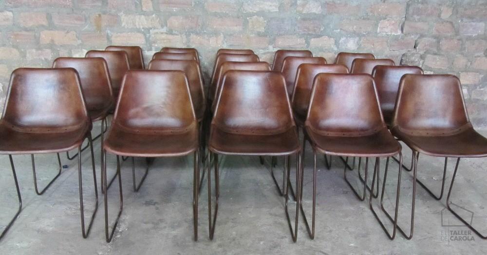 0680815130BR Silla cuero marrón vintage