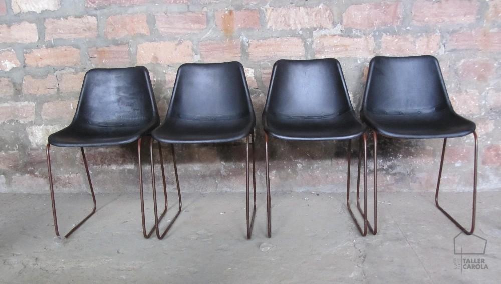 0680815130BL Silla de cuero Vintage 45x45xh80cm