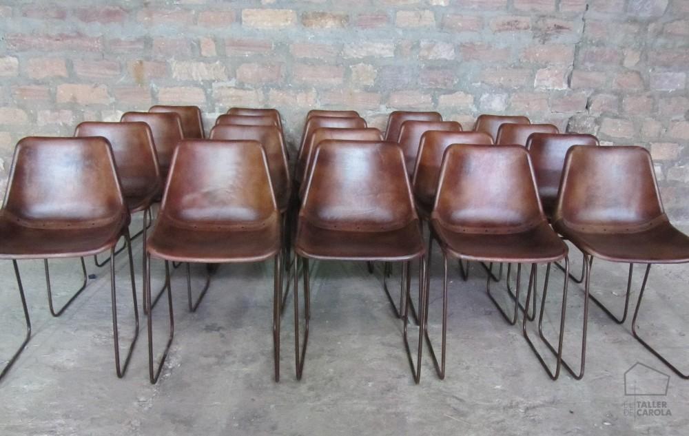 0680815130BR Silla de cuero Vintage 45x45xh80cm