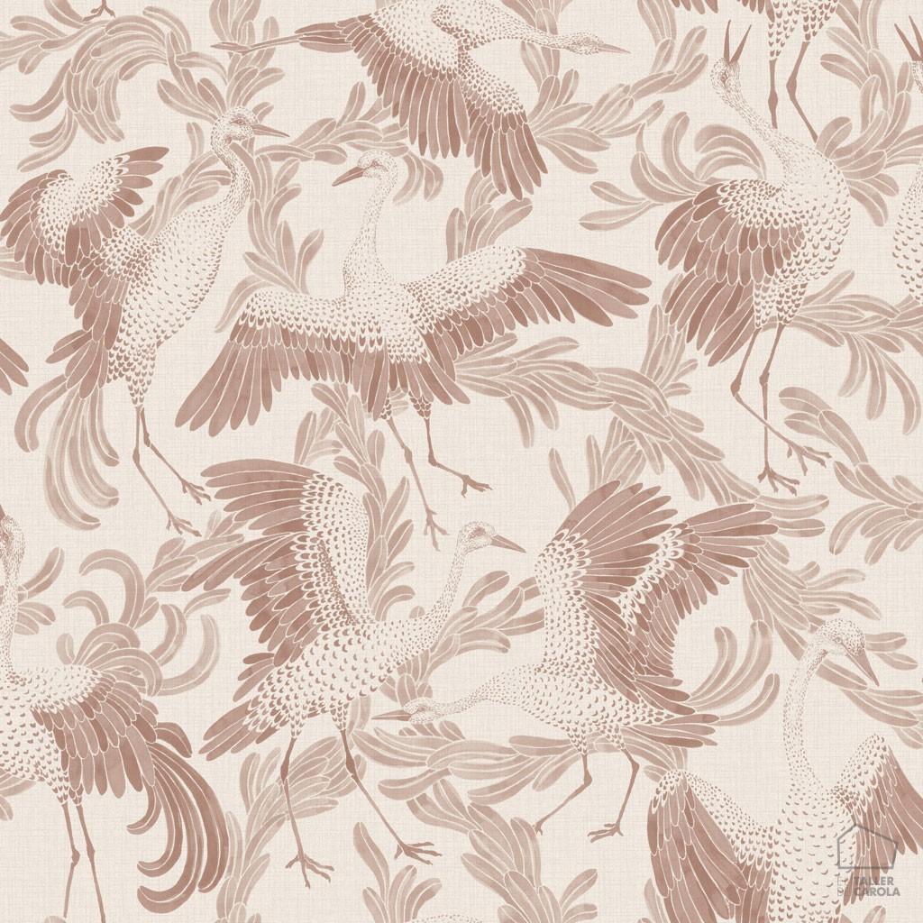0693651_sim_cran Papel Pintado Animales Pájaros Rosa