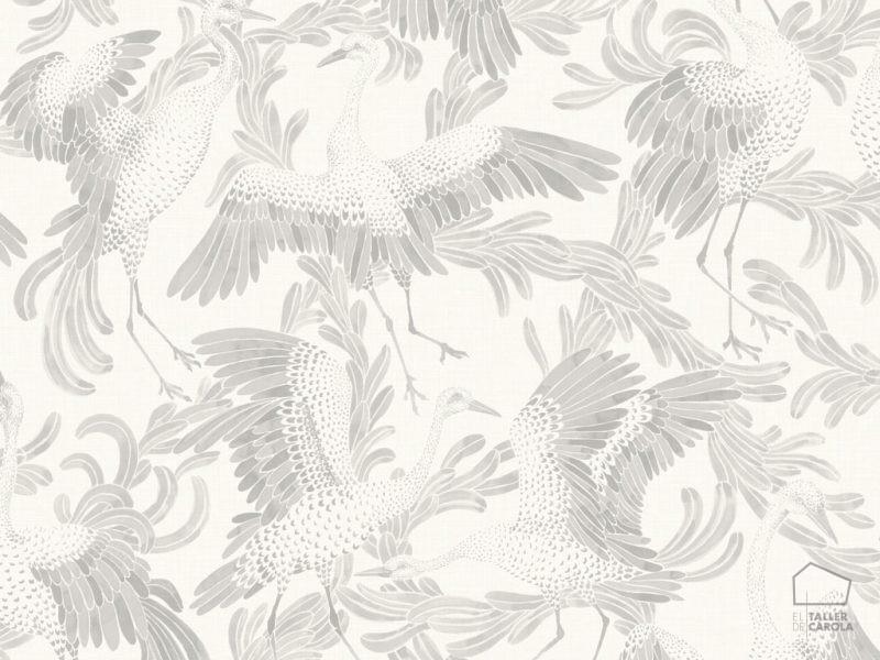 0693653_sim_cran Papel Pintado Animales Pájaros Gris