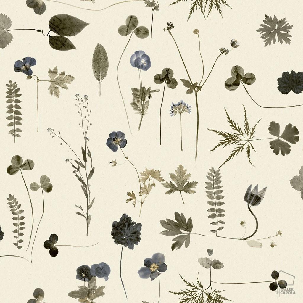 0693660_sim_bot Papel Pintado Botanica Vegetal Flores Azul