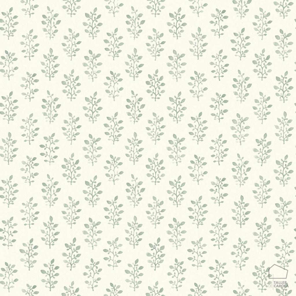 Papel Pintado BLO Hojitas Verde 0693668_sim_blo