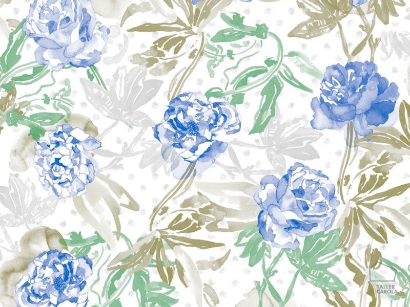 0694800011lar Papel Pintado Flores Acuarela Azul