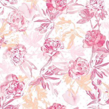 0694800012lar Papel Pintado Flores Acuarela Magenta