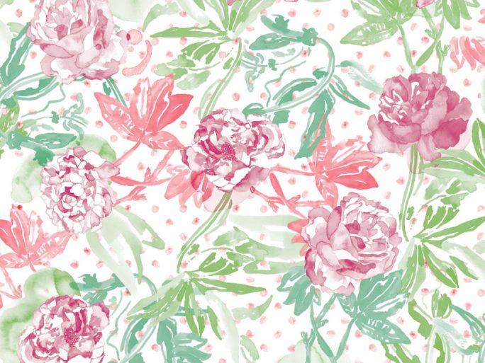 0694800013lar Papel Pintado Flores Acuarela Rosa Ácido