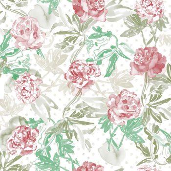 0694800014lar Papel Pintado Flores Acuarela Rosa