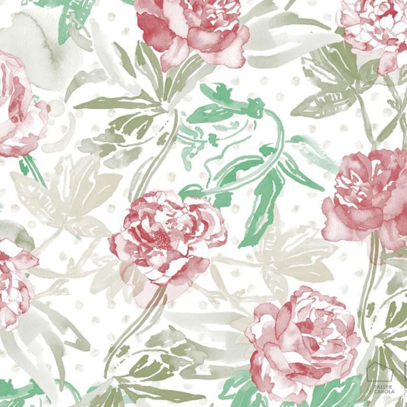 Papel Pintado Flores Acuarela Magenta