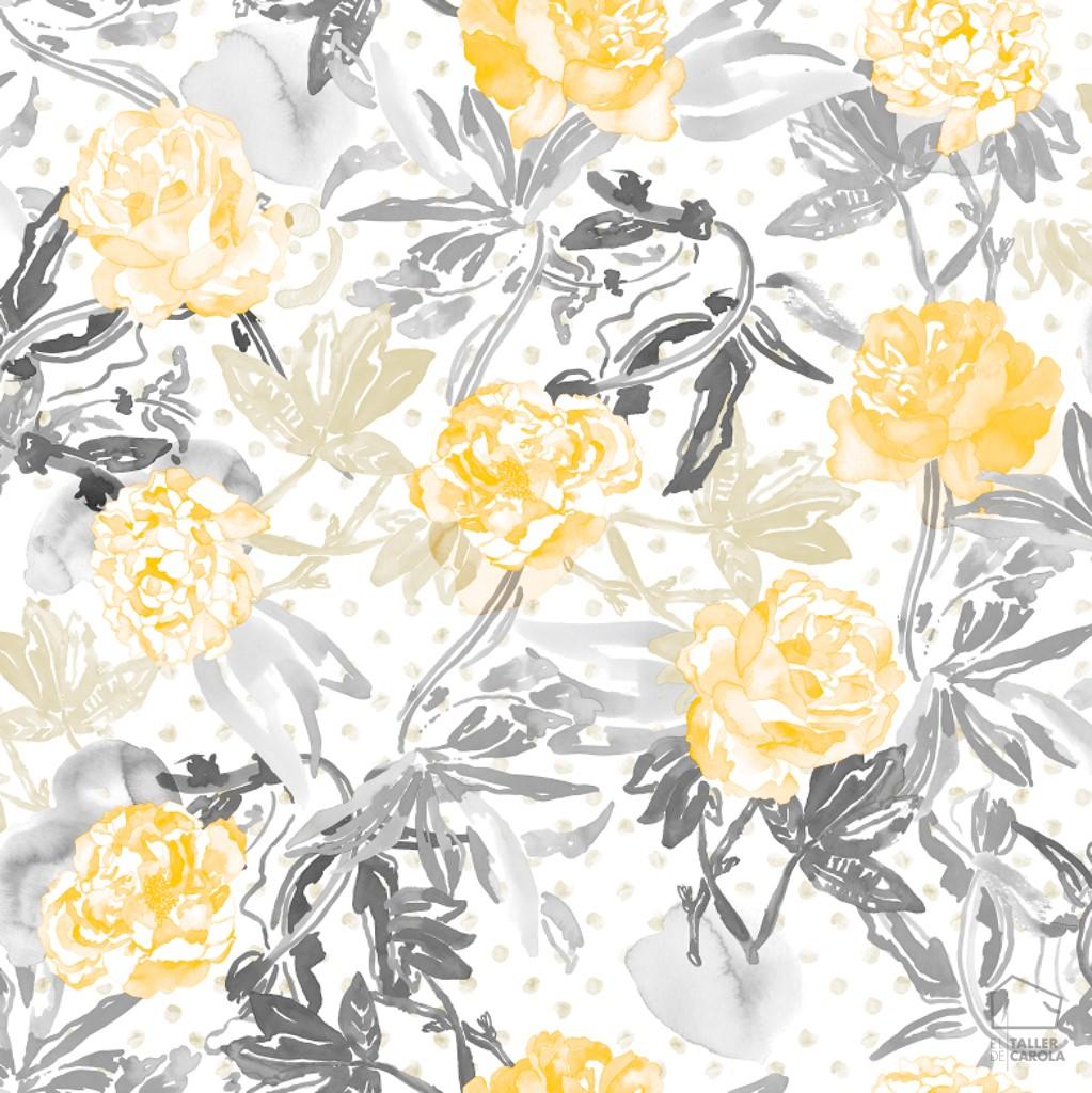 Papel pintado flores acuarela amarillo el taller de carola for Papel de pared gris