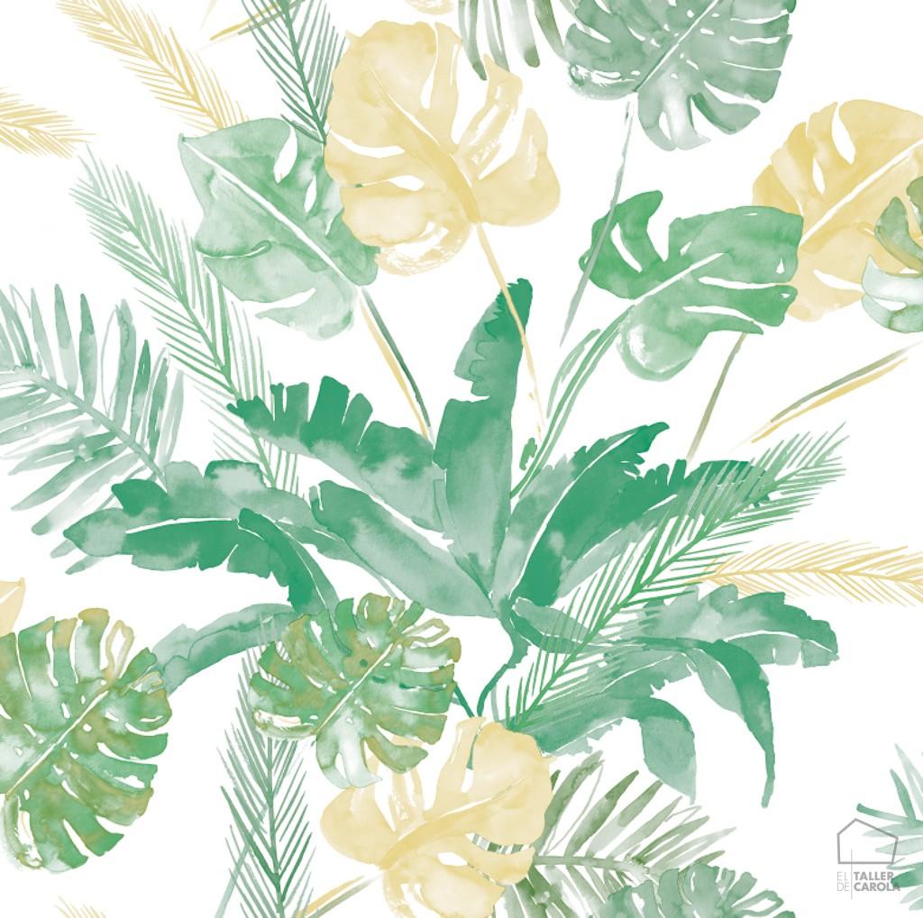 0694800021lar papel pintado tropical verde el taller de - Papel pintado verde ...