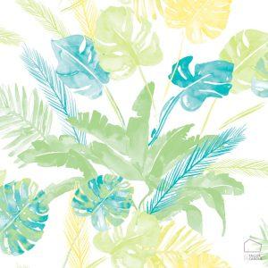 Papel Pintado Tropical Acuarela Azul