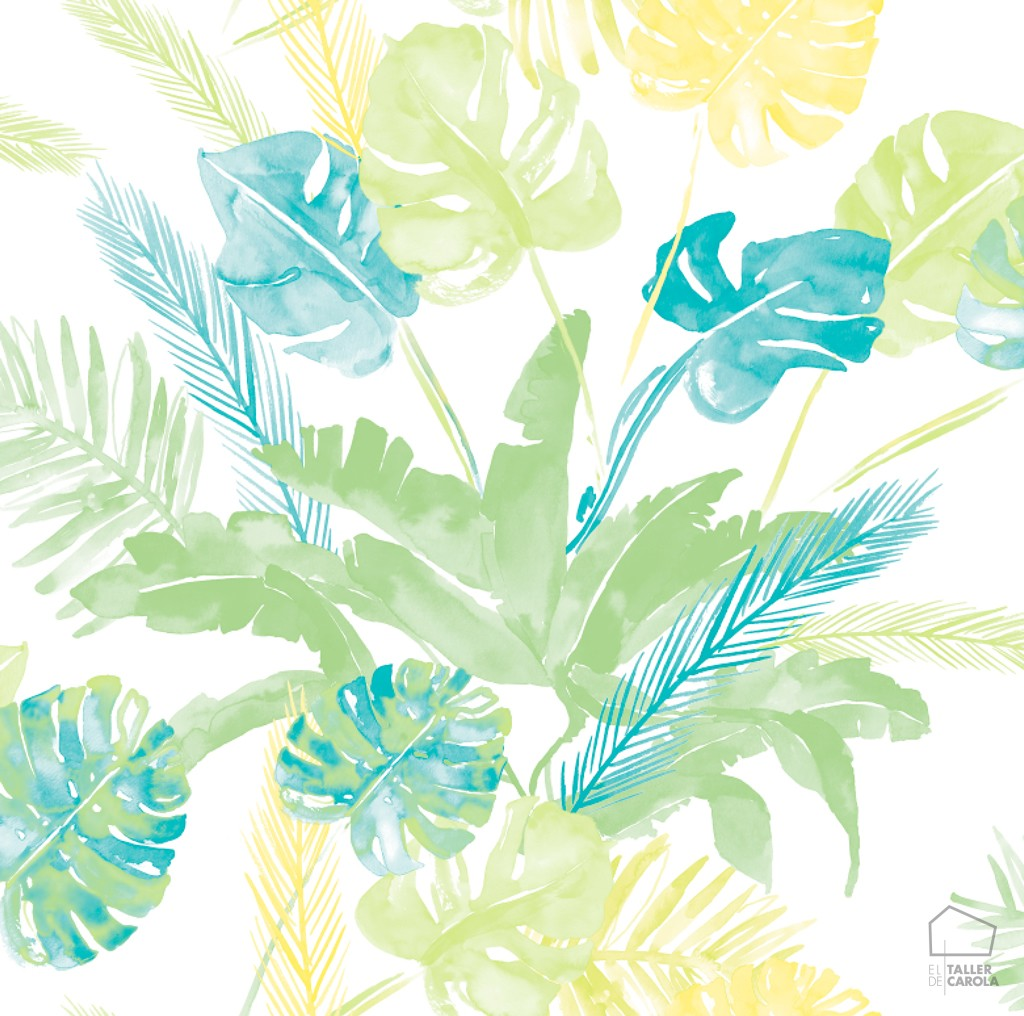 Papel pintado tropical acuarela azul el taller de carola - Papel pintado tropical ...