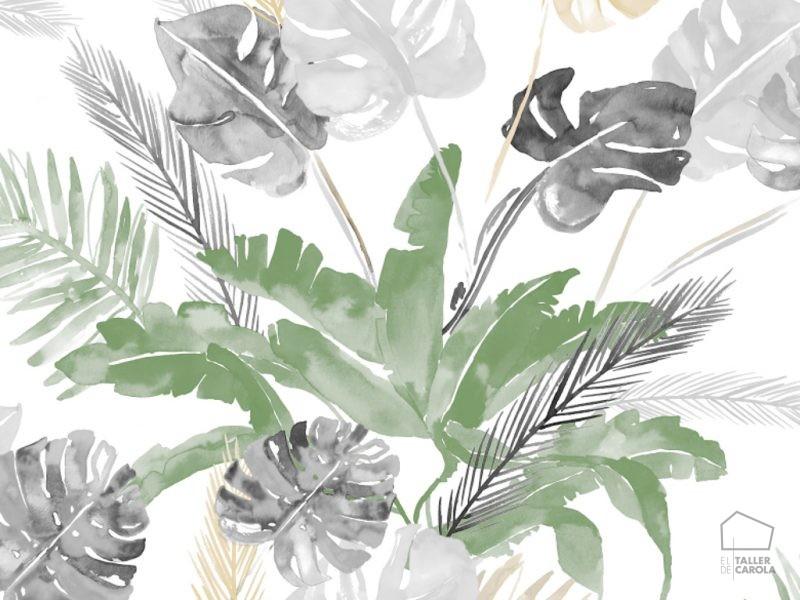 0694800025lar Papel Pintado Tropical Hojas Gris y Verde