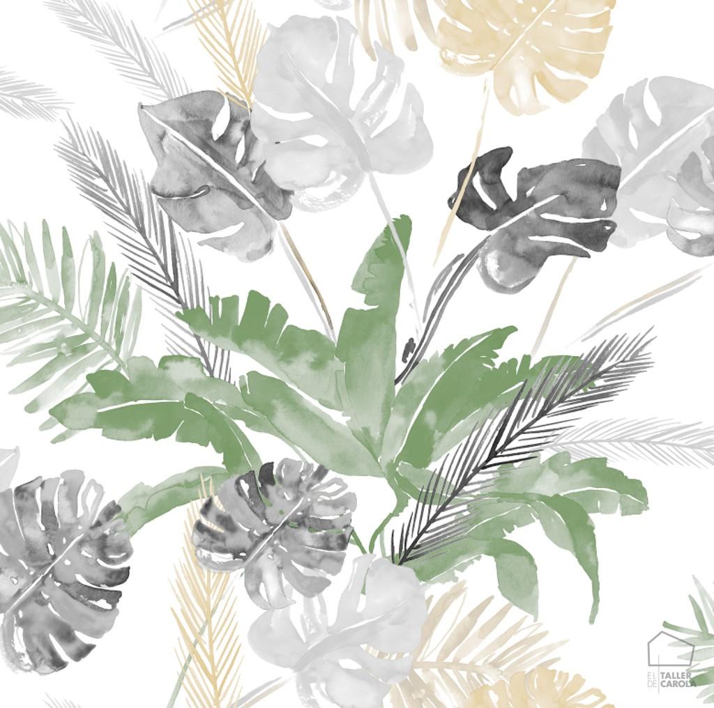 papel pintado tropical acuarela gris ambientes tropicales