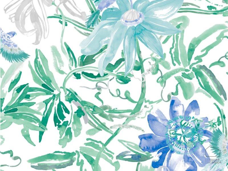 0694800031larPapel Pintado Flores y Hojas Azules