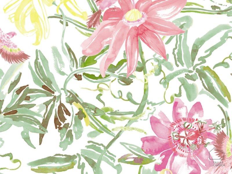 0694800034lar Papel Pintado Vegetal y Flores Magenta
