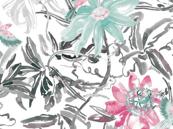 0694800035lar Papel Pintado Flores y Hojas Gris
