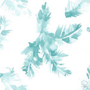 Papel Pintado Hojas Acuarela Azul