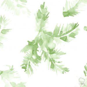 Papel Pintado Hojas Acuarela Verde