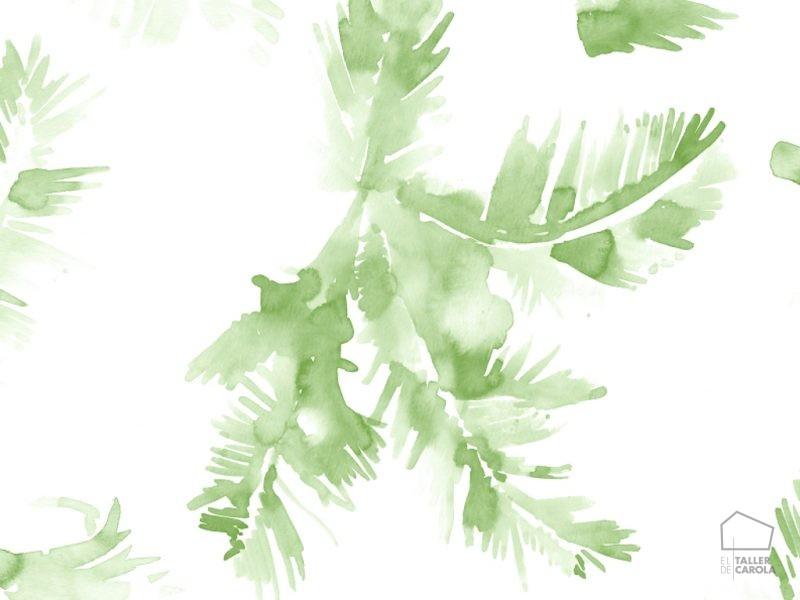 Papel pintado hojas acuarela verde inspiraci n vegetal for Papel pintado hojas