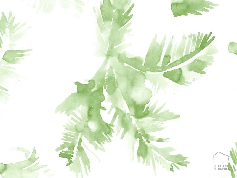 Papel pintado hojas acuarela verde inspiraci n vegetal for Papel pintado hojas verdes