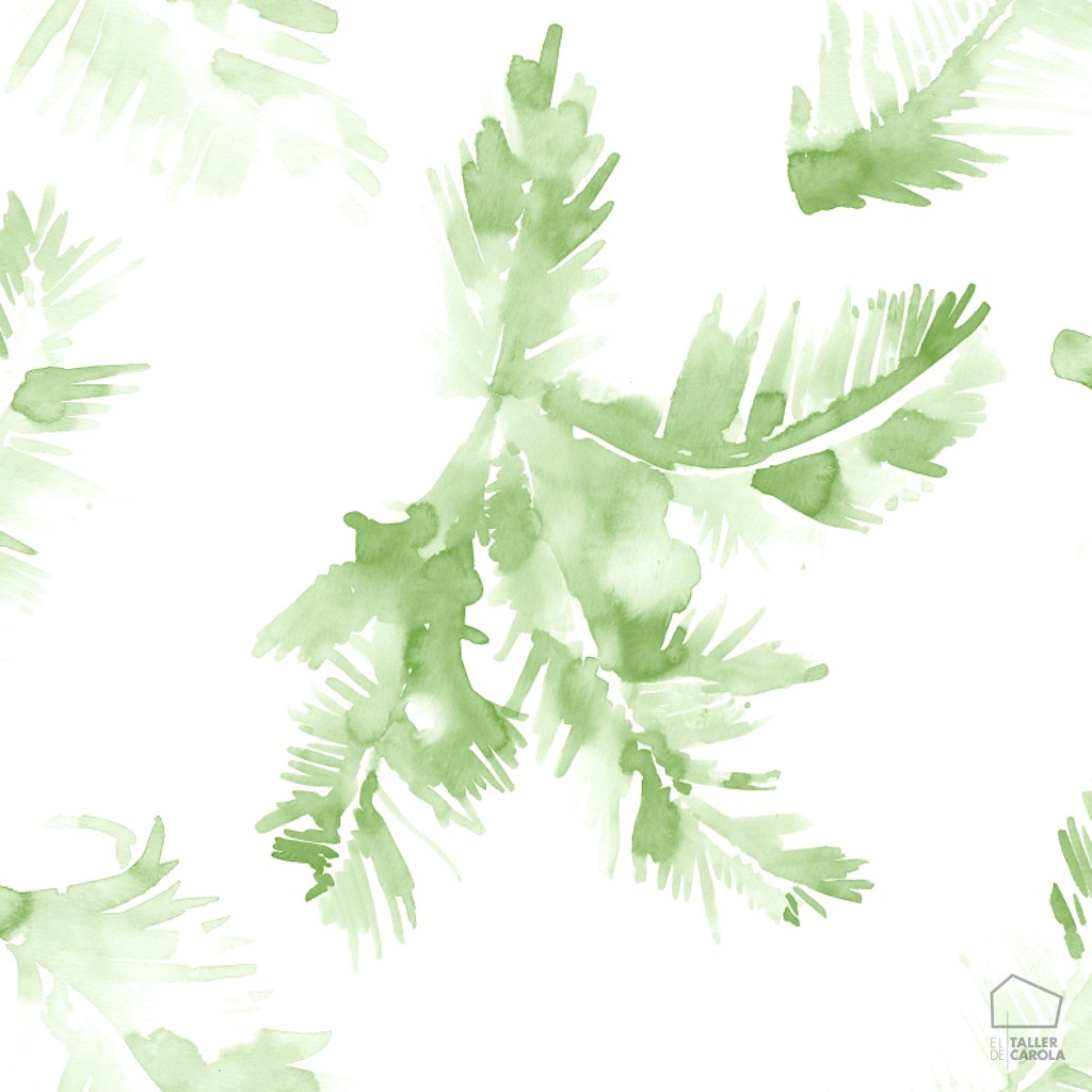 Papel Pintado Hojas Acuarela Verde 0694800043lar