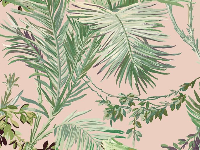 Papel Pintado Vegetal Colonial Rosa
