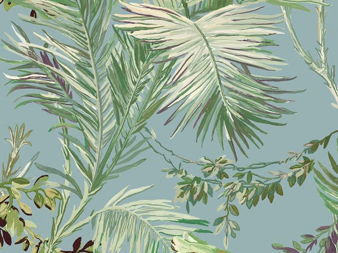 Papel Pintado Vegetal Colonial Azul