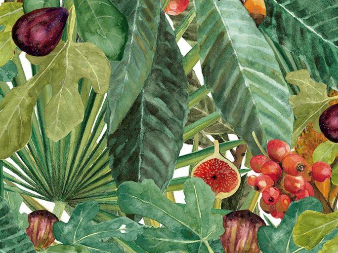 Papel Pintado Vegetal Higos Verde