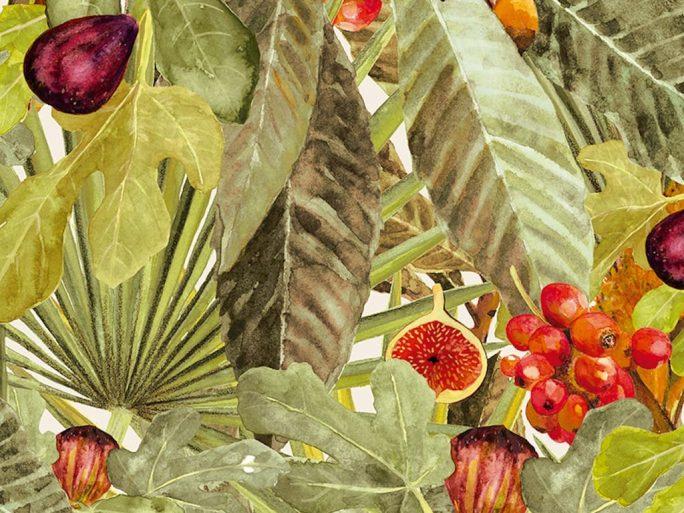 Papel Pintado Vegetal Higos Amarillo