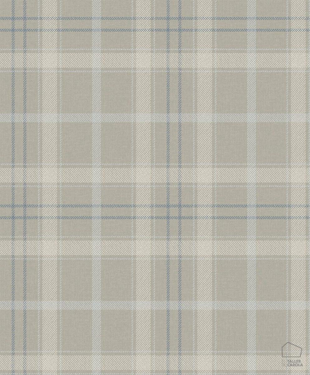 Papel Pintado Cuadros Escoceses Gris Perla
