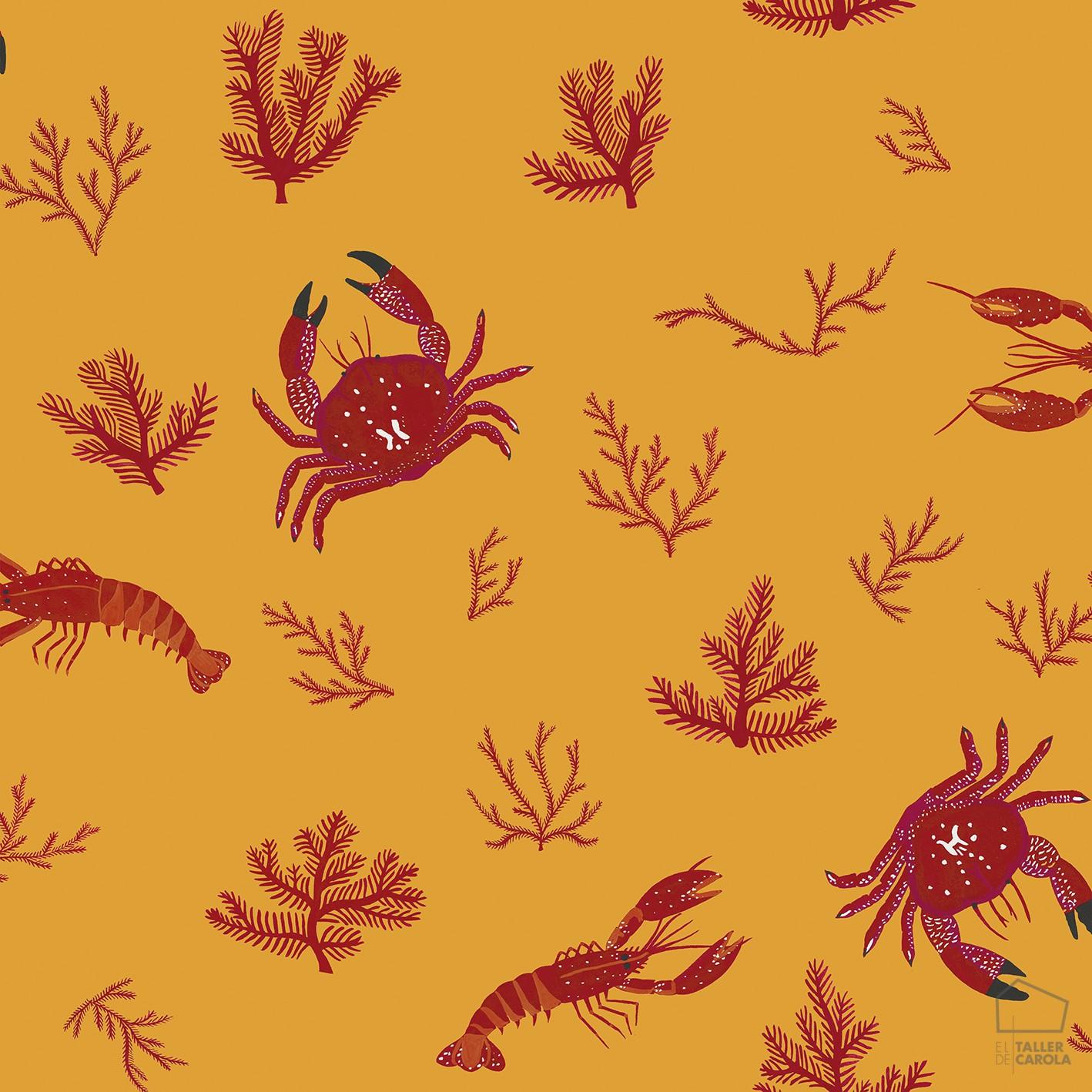Papel pintado cru cangrejos naranja el taller de carola - Papel pintado animales ...
