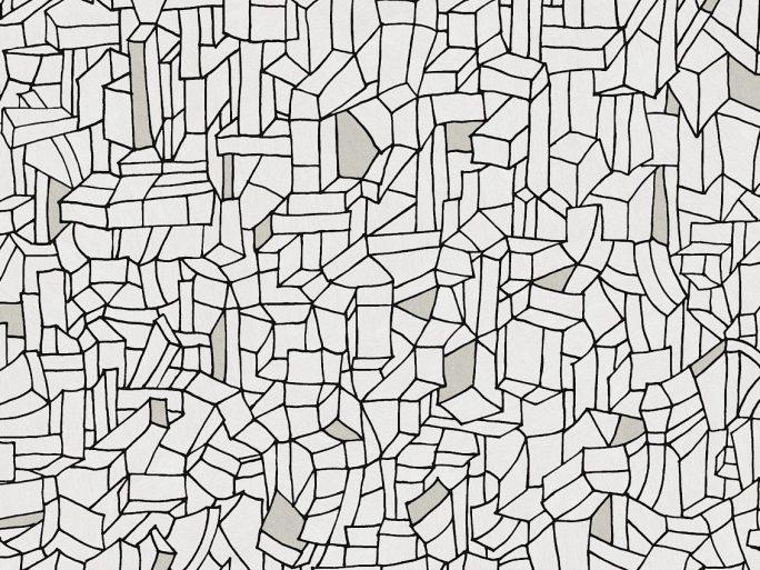 Papel Pintado BUI Geométrico Edificios Negro